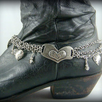 Boot Bling ~ Bracelets for Boots ~ Boot Bracelet ~ Boot Jewelry - Silver Hearts Boot Bracelet - Triple Chain Silver Boot Bling