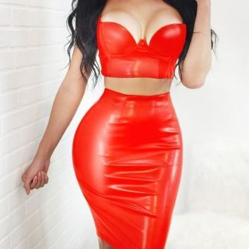 Red PU Leather Spaghetti Strap Two Piece Plus Size Latex Vinly Party Midi Dress