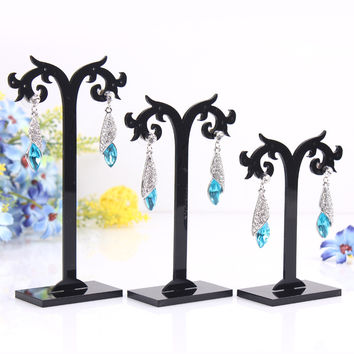 Free Shipping! 1 Set Acrylic Earring Tree Shaped Display Stand Holder (Three pieces of products)