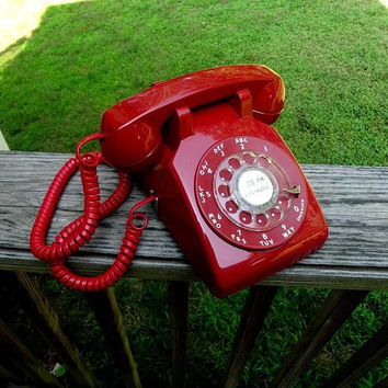1970s Vintage RED Rotary Dial Telephone by Bell System, Western Electric, Curly Cord, Fabulous Condition, Vintage Phone, Vintage Technology