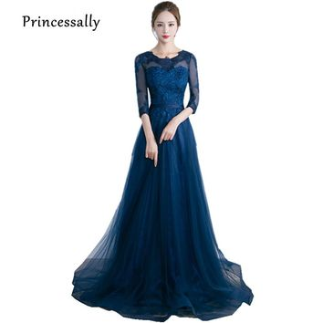 Navy Blue Bridesmaid Dresses Half Sleeves Lace Elegant Prom Party Homecoming Dress Floor Length Robe De Soiree Vestidos De Novia