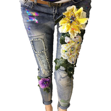 Women's Pencil Jeans Spring New Women Jeans Slim Elastic Stretch Trousers Ladies Fashion Casual Embroidered Flares Jeans