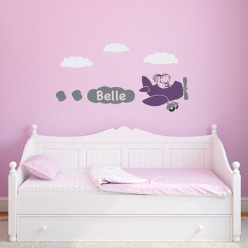 Girl Airplane Wall Decal with Personalized Name - Girl Bedroom Decal - Children Wall Decals - Plane decal