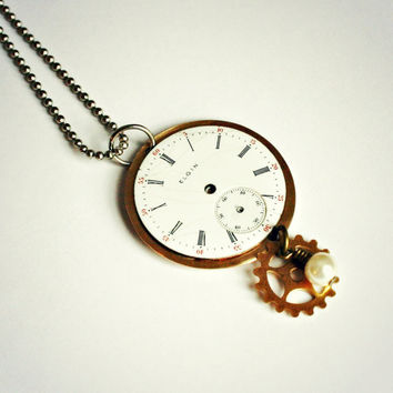 Steampunk Watch Face Pendant with Vintage Elgin Watch Face, Cream Glass Pearl Bead and Brass Gear