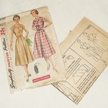 "Vintage Simplicity Dress Pattern, ca1950, Ladies 38"" bust"