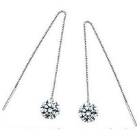 925 Sterling Silver Diamond Thread Earrings