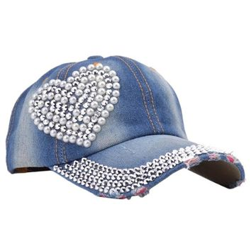 New Women's Rhinestone Studded Baseball Cap Visor Denim Tennis Hats Dark blue