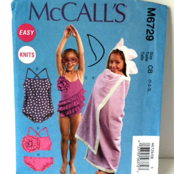 McCalls 6729 Sewing Pattern Swimsuit Bathing Suit Towel Pool Beach Coverup Girls 1 2 3 New Uncut