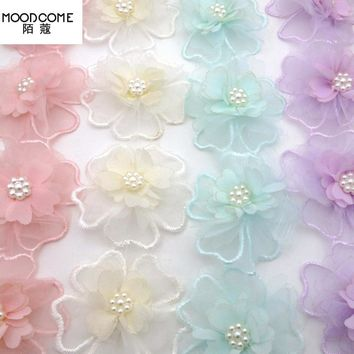 MOODCOME 2yd 3D Lace Flower Pearl Trim Embroidery Sewing Fabric Wedding Ribbon DIY
