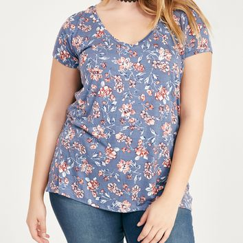 Plus Size Basic Floral V-Neck Tee | Wet Seal Plus