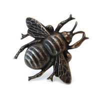 Signed STERLING Bee Brooch / Large Bug Insect Figural Pin / Vintage 1940s Jewelry