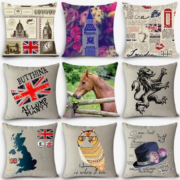 Cheap car seat linen decorative throw pillow Nordic UK London Vintage outdoor chair cushions home decor pillow  MYJ-J2