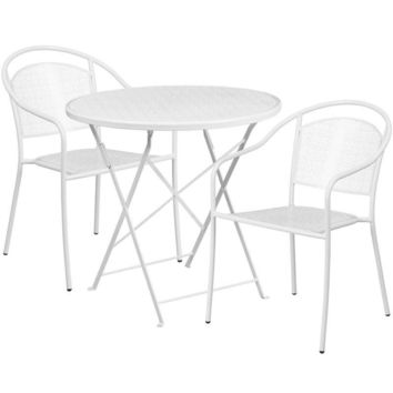 30'' Round Indoor-Outdoor Steel Folding Patio Table Set with 2 Round Back Chairs