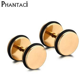 316L Stainless Steel Double Sided Round Bolt Stud Earring Men Geometric Gothic Barbell Gold Rock Punk Earrings Female Male