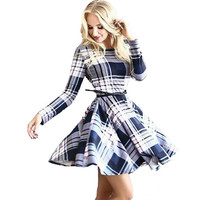 2016 New Arrival Women's Dress Printing Pattern Checkered Long Sleeve