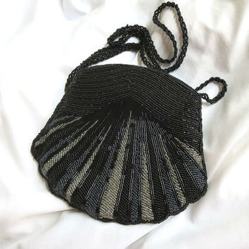 Vintage Black, Hematite and Clear Beads Beaded Scalloped Evening Bag or Purse