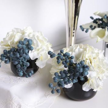 White Hydrangea and Berry in Black Vase (Set of 2)