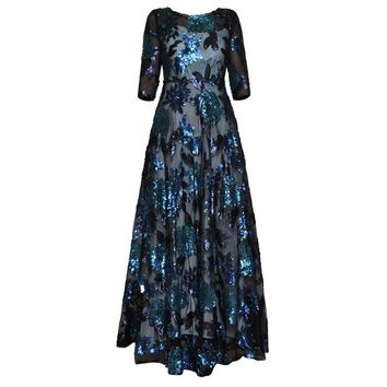 RED ROOSAROSEE 2018 New Arrival High Quality Vintage A-line Half Sleeve Heavy Sequined Floor-length O-neck Long Maxi Dresses
