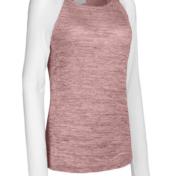 Womens Lightweight Round Neck Long Sleeve Knit Raglan T Shirt with Stretch