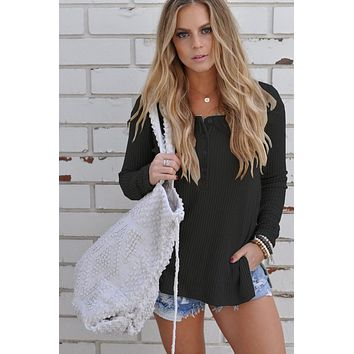 Black Casual Sweater Knit Bottoming Shirt Women