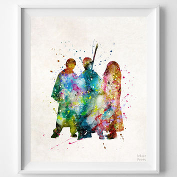 Harry Potter Print, Hermione Watercolor Art, Disney Poster, Playroom Wall Art, Dorm Room Art, Baby Room Decor, Halloween Decor