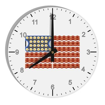 "American Breakfast Flag - Bacon and Eggs 8"" Round Wall Clock with Numbers"