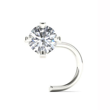 14K White Gold Diamond-Accent 1.8mm Stud Nose Ring - JCPenney
