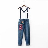 Korean Summer Women's Fashion Embroidery Floral Denim Slim Pants Romper [4918854724]