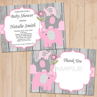 Baby Shower Invitation Elephant Baby Shower Invitation Girl Baby Shower Invitation Editable (50-1W) -Free Thank You Card - Instant Download