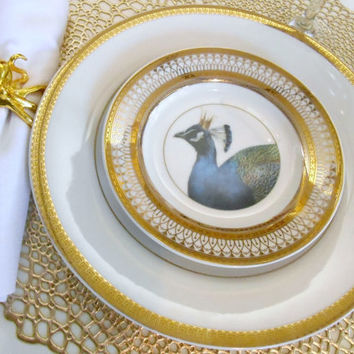 Beautiful Gold Peacock/Bird Wedding Dinnerware/Dishes, Customizing and Payment Plans Available