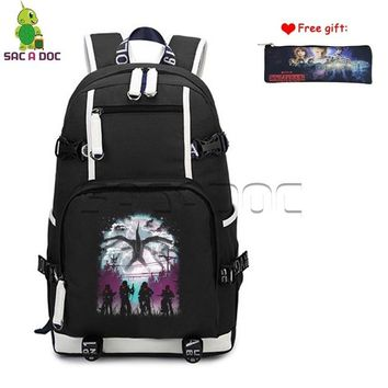 Anime Backpack School Stranger Things Eleven Canvas Backpack Womens Mens Daily Backpack Teens Students School Laptop Bags Travel Rucksack Case Gift AT_60_4