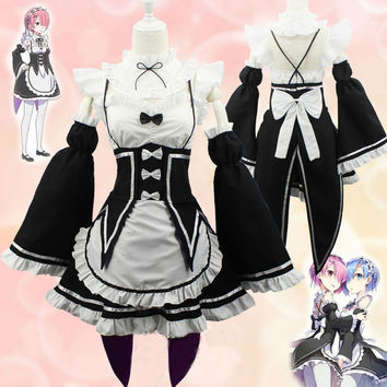 New Re:Zero kara Hajimeru Isekai Seikatsu Ram Rem Twins Maid Dress Cosplay Costume Halloween Chrismas Cosplay Lolita Dress
