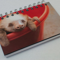 Sloth Photography Handmade Spiral Notebook / Journal about 4x6