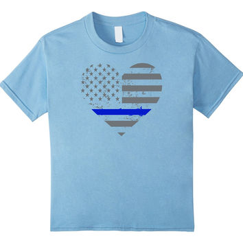 Thin Blue Line Heart Police and Law Enforcement T-shirt