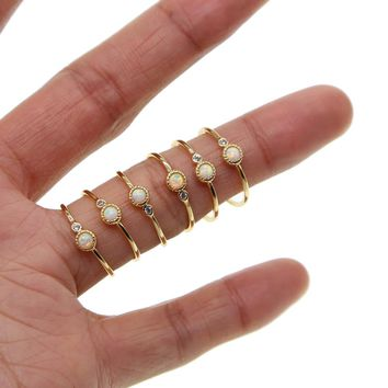 Boho Vintage Punk gold color minimal Midi Finger opal Rings For Women Bohemian Knuckle Ring Set Jewelry