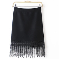 Paige Stretch Lace Tassel Knit Skirt