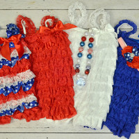4th of July Petti Lace Romper with Option to Add Headband...PETTI ROMPER with Bow....Flower Girl...Birthdays..Photo Props...Cake Smash