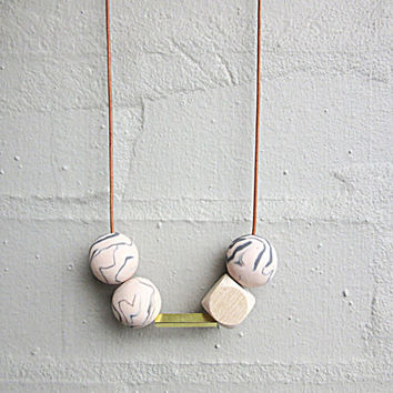 NL-204 Peach and Grey Marble Pattern Round Clay Beads with Faceted Wooden Bead and Brass Tube in Length Adjustable Leather Cord
