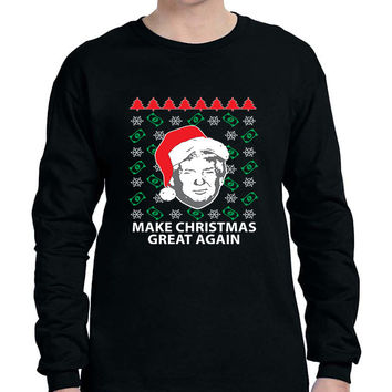 Men's Long Sleeve Trump Christmas Great Again Money Snow Xmas