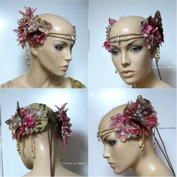 Golden Spring Fairy Goddess Flower Crown Halloween Costume Headband Headpiece Rave