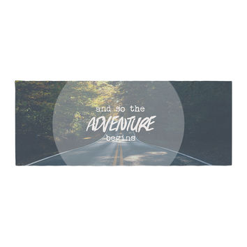 """Ann Barnes """"The Adventure Begins"""" Typography Nature Bed Runner"""