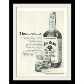 "1967 JIM BEAM Bottle Whiskey Ad ""Thumbprints"" Vintage Advertisement Print"