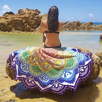 Indian Mandala Printed Tapestry Throw Bohemian Twin Bedspread Beach Yoga Mat Throw Multi-purpose Towel Tassel