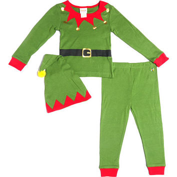 Truly Scrumptious Neutral 3 Piece Green Elf Pajama Set