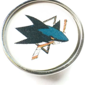 NHL Hockey Logo San Jose Sharks 18MM - 20MM Fashion Snap Jewelry Snap Charm New Item