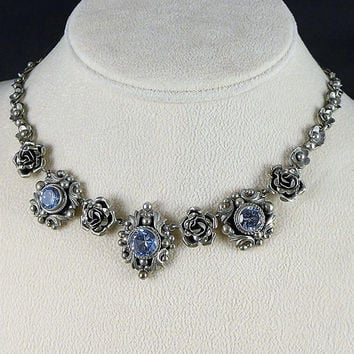 Peruzzi Silver Topaz Necklace, Vintage Signed Peruzzi 800 Silver Blue Topaz Necklace, Bridal Necklace, Italian Silver Necklace