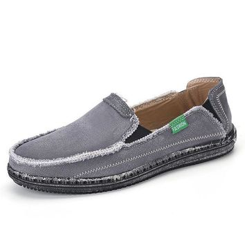 Classic canvas shoes men lazy shoes blue grey green canvas moccasin men slip on loafers washed denim casual flats