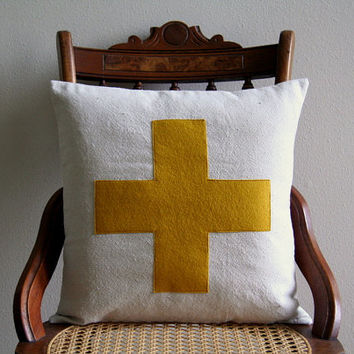 "swiss cross throw pillow cover in mustard yellow / saffron / 16"" x 16""  / natural / farmhouse / cabin style / rustic / dorm home fall decor"