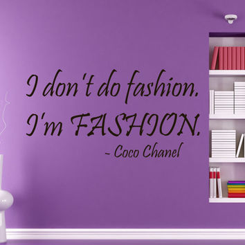Wall Decals Vinyl Decal I'm Fashion Coco Chanel Quote Beauty Salon Home Vinyl Decal Sticker Kids Nursery Baby Room Decor kk4