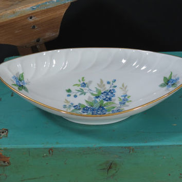 Limoges Relish Dish Blue Flowers Forget Me Nots France Gold Rim Porcelain